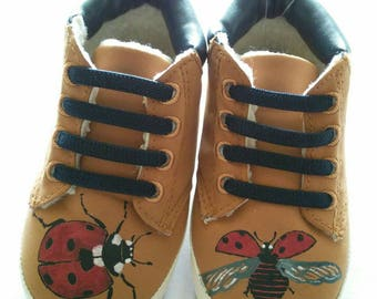 Ladybirds. Cute one-off hand painted toddler booties, faux suede with fleecy lining and elasticated laces. UK size 4 (12-18 months).
