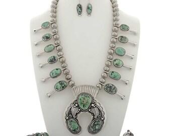 Damele Turquoise Squash Blossom Necklace Set