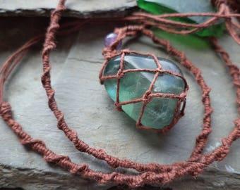 Green Fluorite & Amethyst Drop Pendant