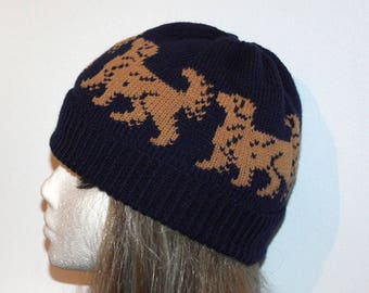 Navy Beanie with Golden Retrievers - with or without pompom option
