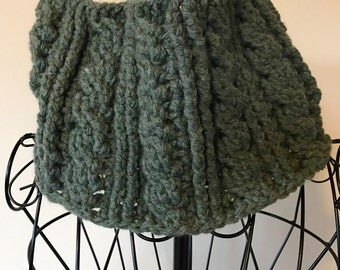 Cabled Chunky Neck Warmer, cowl, scarf, infinity cowl, green, wool blend, chunky knit, crochet cowl