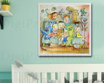 Monster, Friends, Wall art, Wall decor, Printable art, Wall art prints, watercolor print Nursery decor Playroom wall art Playroom wall decor