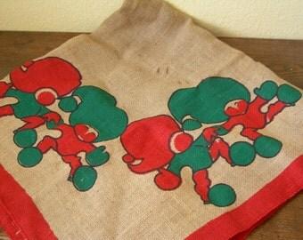 Vintage Tree Skirt Burlap Jute With Christmas Gnomes Xmas Dwarfs Swedish Holiday Decor Scandinavian Printed Retro