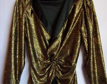 Women's Retro Blouse/Gold Black Blouse/ Disco Blouse/ Shiny Top/V Neck/Elastic Waist/Long Sleeve/ Size M/ EUR 38
