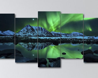 Five Panel Northern Lights Print