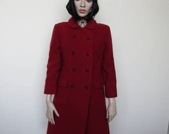 Red vintage wool overcoat size 10/12