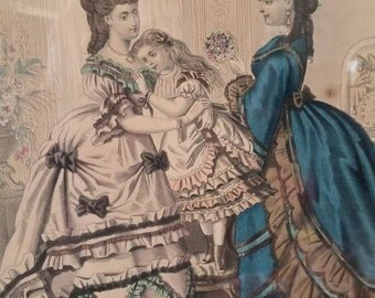 Antique framed Victorian Mode  Illustree Lithograph engraving Print
