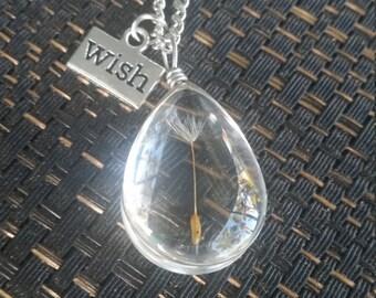 Dandelion Glass Pendant Necklace