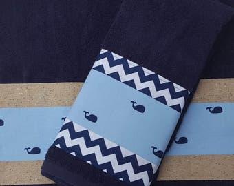 Blue Whale Towels Kids Towels Bathroom Decor Kids Decor Whale Decor