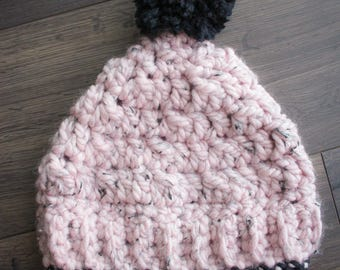 Winter Hat, Slouchy Hat, Knit Hat, Slouchy Beanie, Hat, Pom Pom Hat, Crochet Hat, Pom Pom Beanie, Crochet Winter Hat, Crochet Beanie, Pink