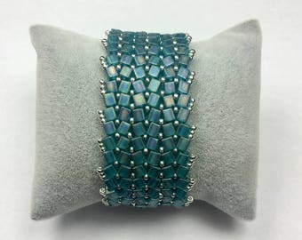 Cubes Miyuki turquoise green matte and rockeries Cuff Bracelet silver plated