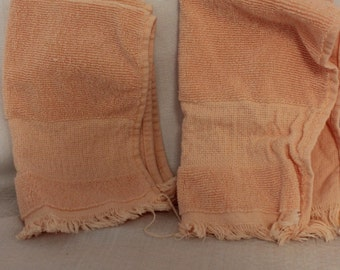 2 Peach Color Hand Towels with Cross Stitch Strip