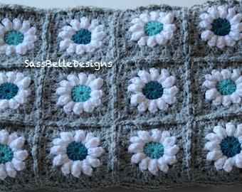 Crochet Daisy Granny Square Baby Blanket