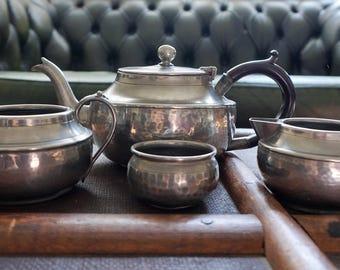 Hammered Pewter Tea Set Sugar bowl Milk Jug Tea pot Bakelite Handle Talbot 1784 Crafstman Sheffield