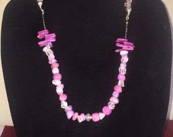 Handmade reversible pink bead/pink stone necklace