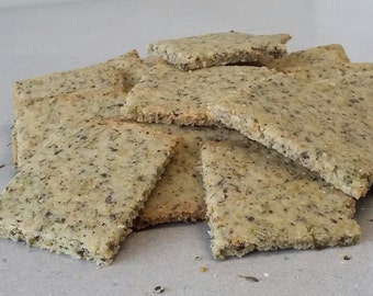Rosemary & Thyme Crackers with optional metal canister. Light and crisp. Perfect for cheese boards.