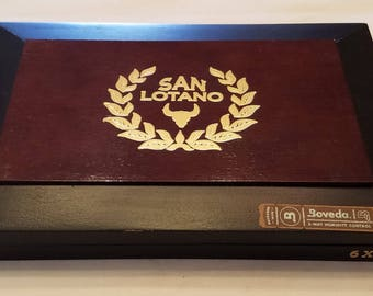 Wooden Cigar Box, San Lotano, Black and Brown, Gordo Box