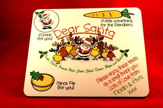 Personalised Santa Treat Board, Christmas Eve Treat Board, Santa Plate