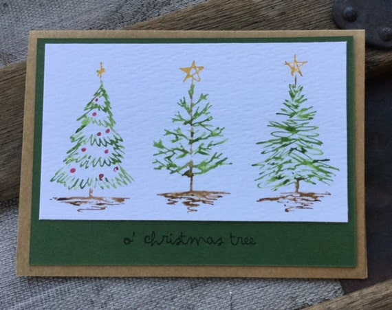 Watercolor Scribble Trees Cards