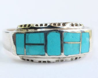 Sterling Silver Inlay Inlaid Native American Indian Navajo Turquoise
