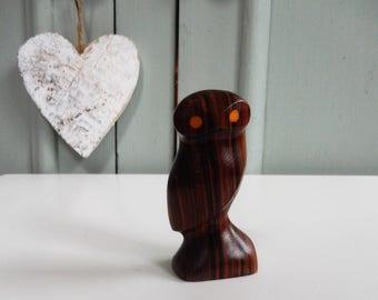 Teak Owl, Vintage Owl, 1960s Owl, Retro Owl, Orange Eyes, Small Stylistic Carved Owl