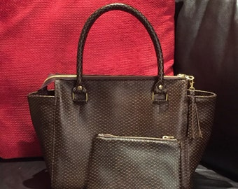 Leather Winged Tote, Hand bag in Dark Brown Italian Cobra Snake Embossed Italian Leather, Handbag with matching make up pouch