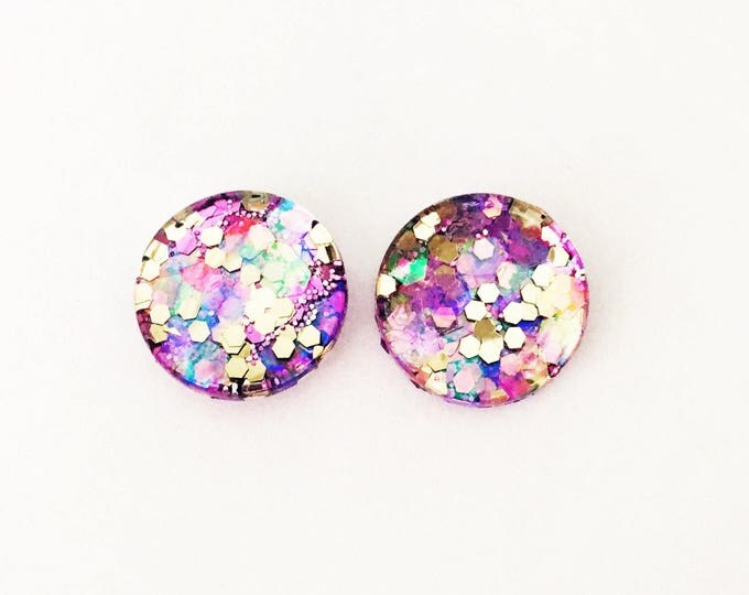 The 'Grape Seed' Glitter Glass Earring Studs