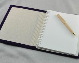 "Purple Velvet covered handmade and refillable 6"" x 8"" journal with 100% recycled paper"