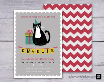 Personalised Cat Invitation, Customized Cat Party Invitation, Printable Cat Birthday Invitation, Black and White Invite, Personalized Party