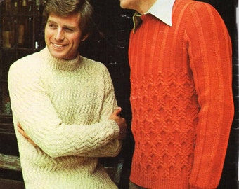 a6e0eedf27532 mens sweaters knitting pattern pdf DK   aran polo or crew neck jumpers  Vintage 70s 38-44  36-42 inch DK 8ply   aran 10ply instant download