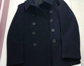 WW2 US Navy Pea Coat Enlisted Wool Bakelite Buttons Sz 42 Historical Provenance Los Angeles San Francisco Excellent Condition