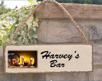 Solid rustic oak stained Bar sign gift can be personalised