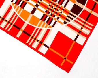Vintage scarf, 1960's print scarf, vintage head scarf, women's geometric scarf, neck scarf, retro scarf, mod scarf, vintage orange scarf