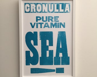 Cronulla Pure Vitamin Sea Letterpress Poster