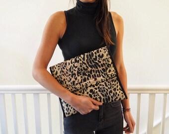 African leopard print laptop case folder pouch clutch purse fold over
