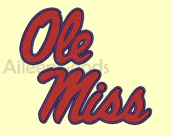 Ole Miss Rebels Embroidery  design 6 Size  INSTANT download machine embroidery