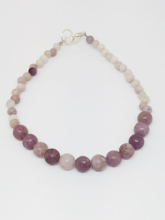 Lavender and White Quartz Bracelet, Gemstone Bracelet, Mala Bracelet, Yoga Bracelet, Beaded Bracelet, Gift For Her, Meditation Bracelet