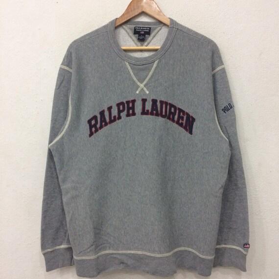 Rare!! Vintage POLO By Ralph Lauren Spellout Sweatshirt Gray colour Large Size