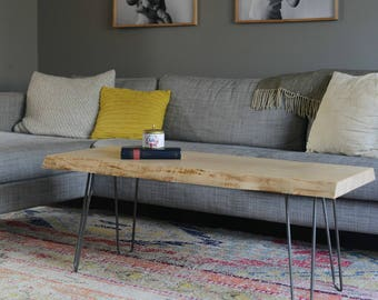 Live Edge Coffee Table in Curly Maple **ON SALE**