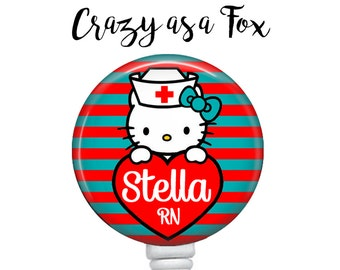 Personalized Nurse Kitty Retractable Badge Holder, Personalized Retractable ID Badge Holder, Personalized Badge Reel, ID Badge Reel