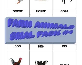 Digital, Montessori three part cards, Farm animals, printable, reading
