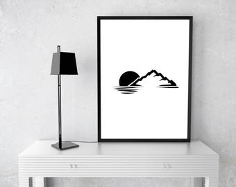 Bedroom Picture Print Poster Mountain Scape Minimalistic