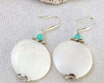 White shell earrings Shell beads earrings Free shipping