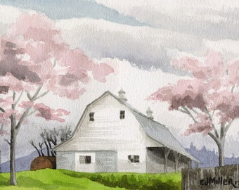 Cherry blossoms original watercolor, Oregon artwork, rustic country barn painting, springtime art, pink flowers painting, cherry tree art