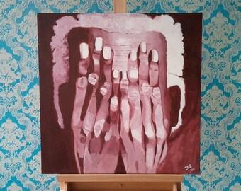 Painting of gloomy man-sad atmosphere