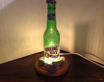 Handmade Rolling Rock Beer Bottle Table Lamp, Novilty Lamp, Free Shipping