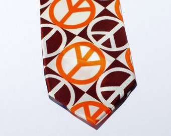 Vintage Necktie Peace Sign 70's Hippie