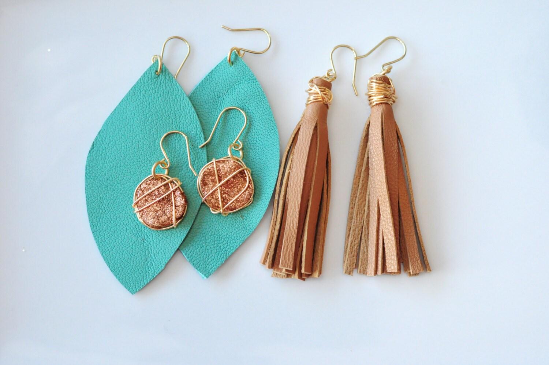 Caramel Leather Tassel Earrings Gallery Photo Gallery Photo Gallery Photo  Gallery Photo Gallery Photo