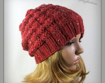 Red knit hat - slouchy textured beanie hat - womens hand knit hat - women's knitwear