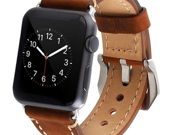 Premium Quality Leather Band For Apple Watch, Brown & Black